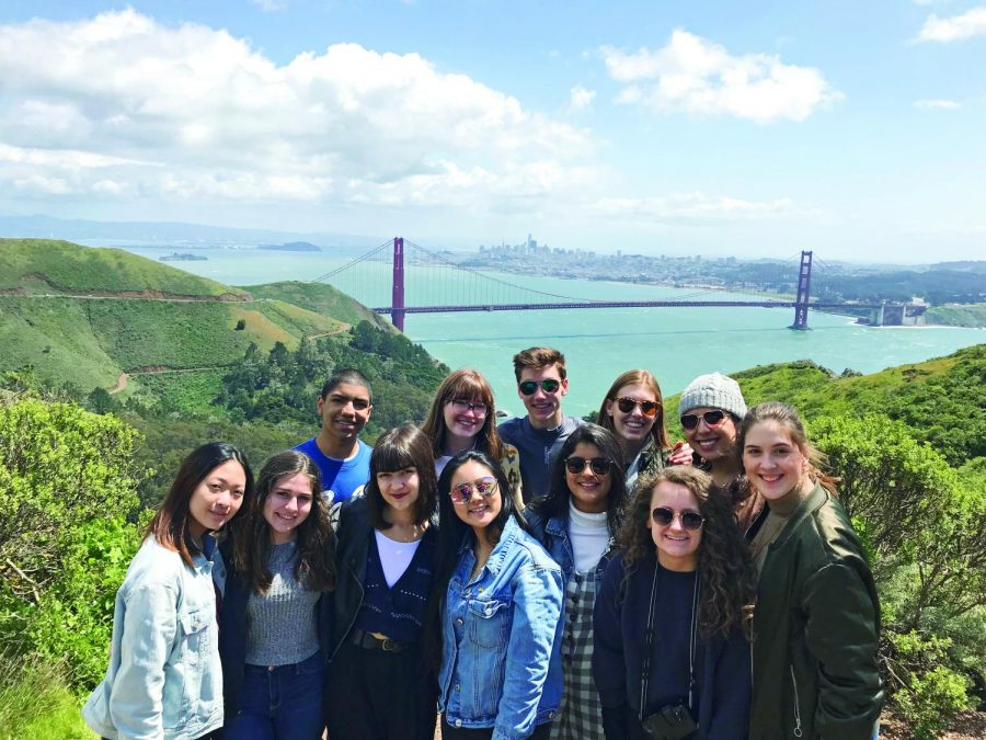 EDGE OF THE EARTH: Members of the newspaper staff climb to Marin Headlands for a view of the Golden Gate Bridge during the JEA national convention in San Francisco. The two publication staff's won two major Best in Show awards, while eight students won individual awards for on-site competition.
