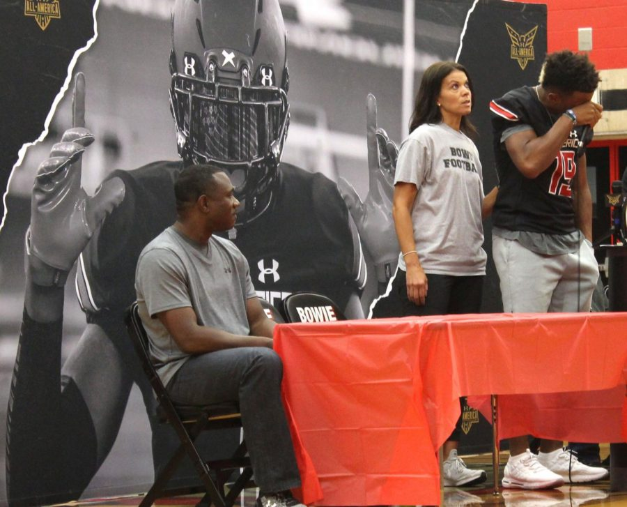 Bowie football wide receiver, Elijah Higgins gets emotional as he gives his speech after he has received his Under Armour All-American Game jersey.