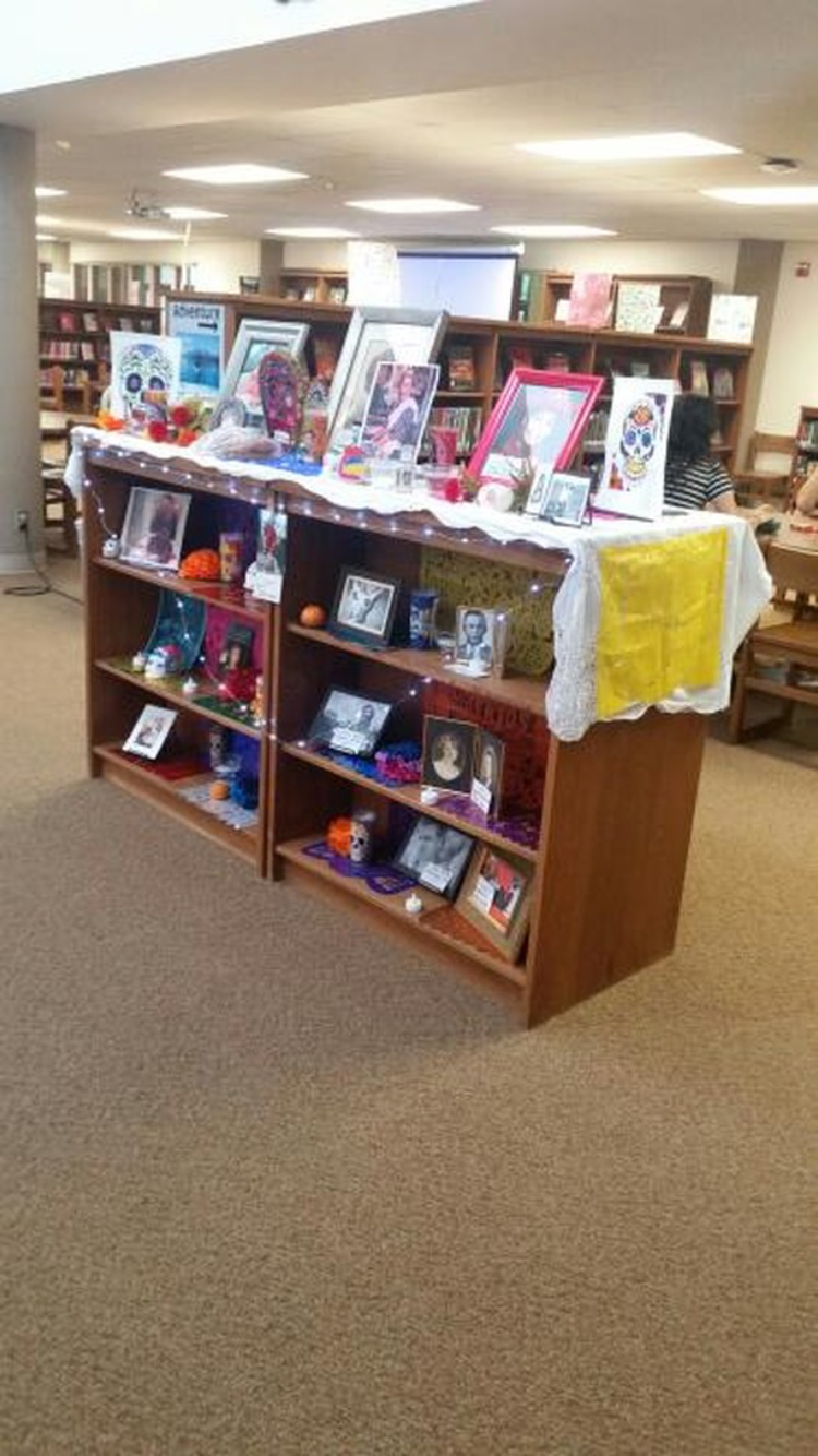 This is one of the Ofrendas in the library. To learn more about the day of the Ofrenda and the display in the library check out the link.
