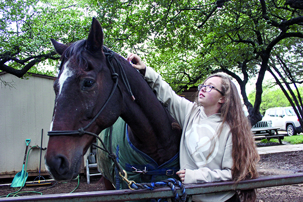 A FRIENDLY NEIGH-BOR: Practicing her technique, senior Megan Smith tends to her horse Arizona. Arizona has all of his organs on his left side of his body which, according to Smith, for the most part doesn't affect how he is able to work.