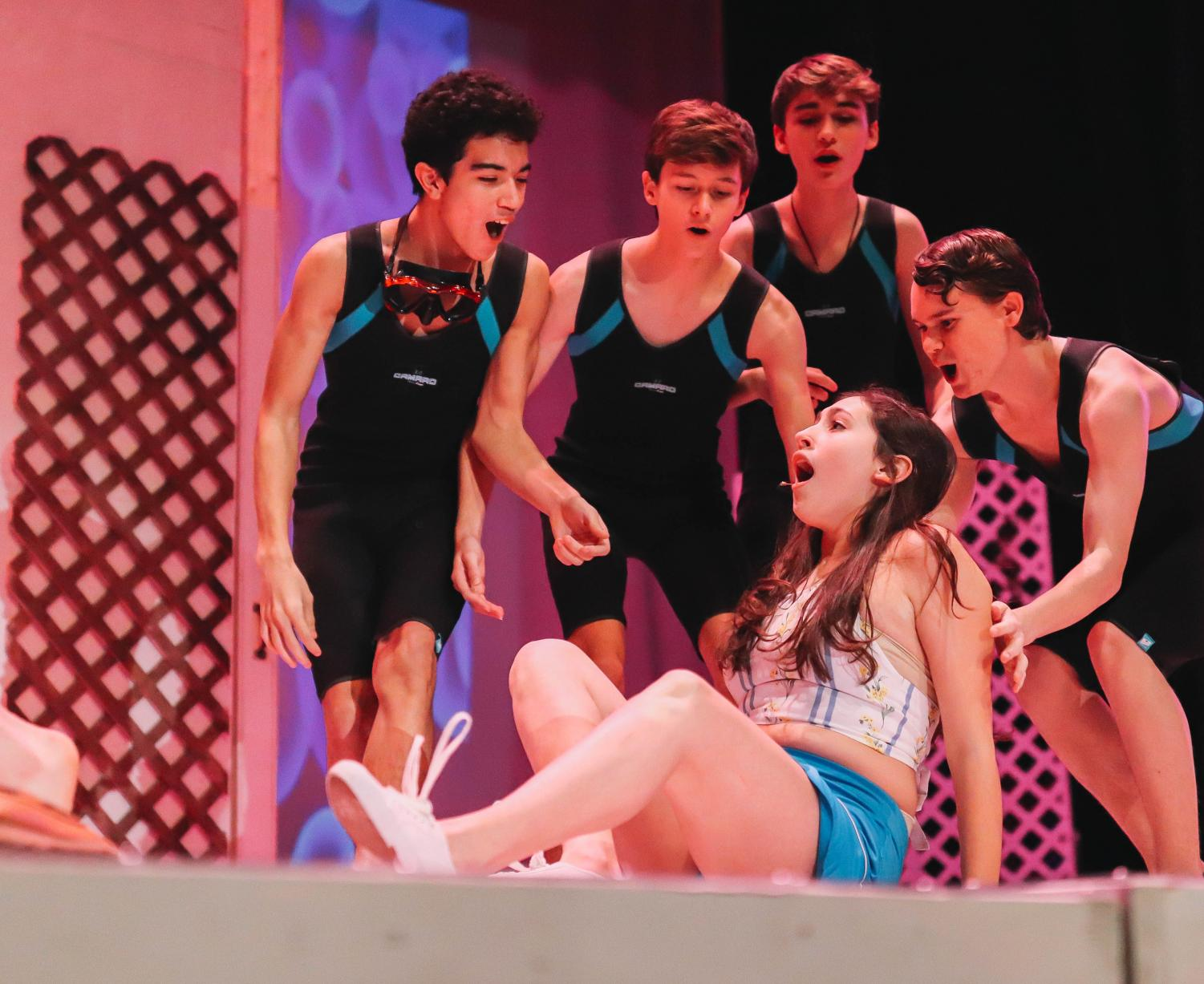 Pictured left to right  Jadon Davis Connor Russell Brennan Zavaleta Joel Bowman and seated Sydney Reinhart are all underclassmen who have been casted in the Mamma Mia play.