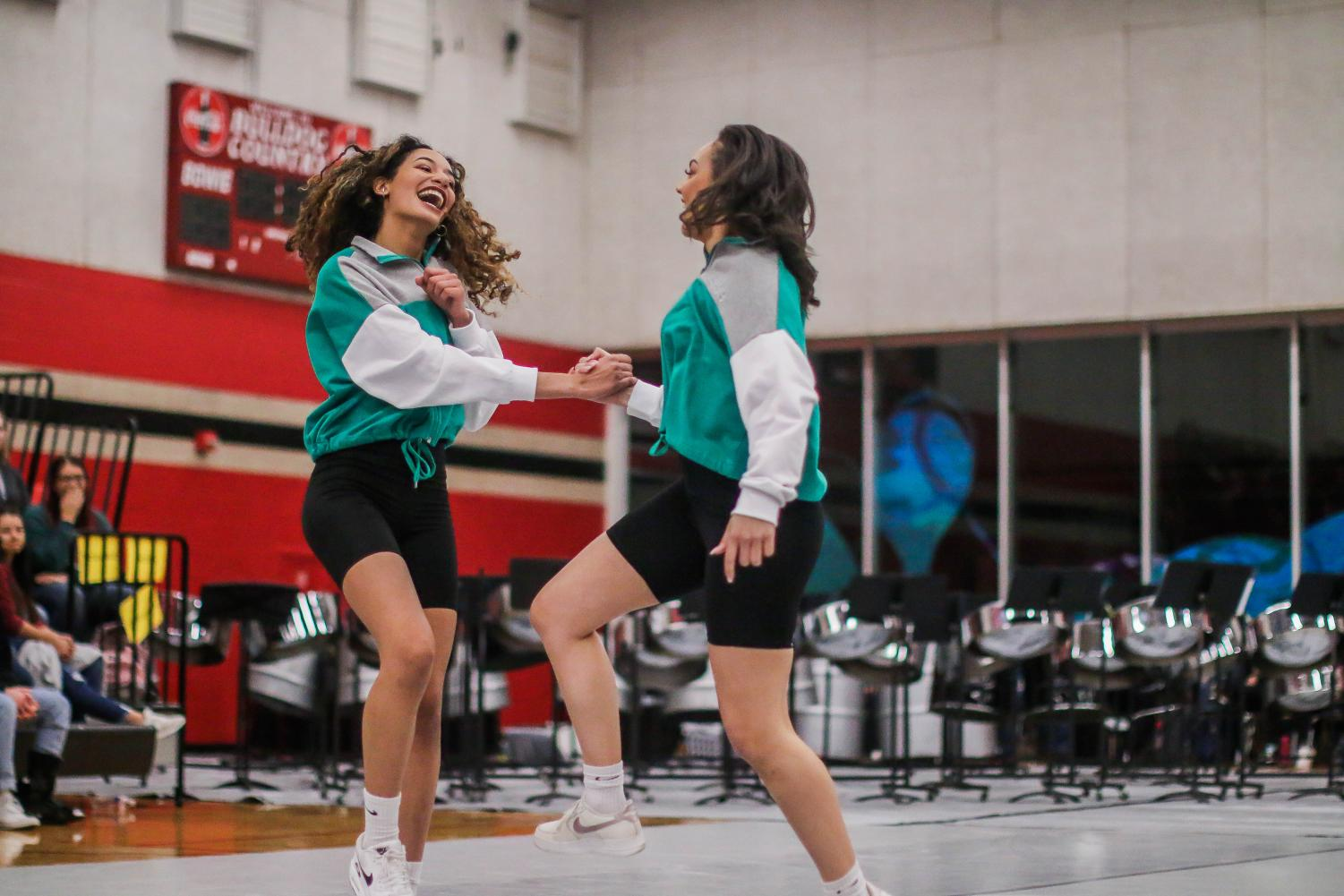 Nyah Bernucho and Kaeleigh Chambers pair up in the assembly's choreographed dance for the MCAC. The dancers also preformed at No Place for Hate.