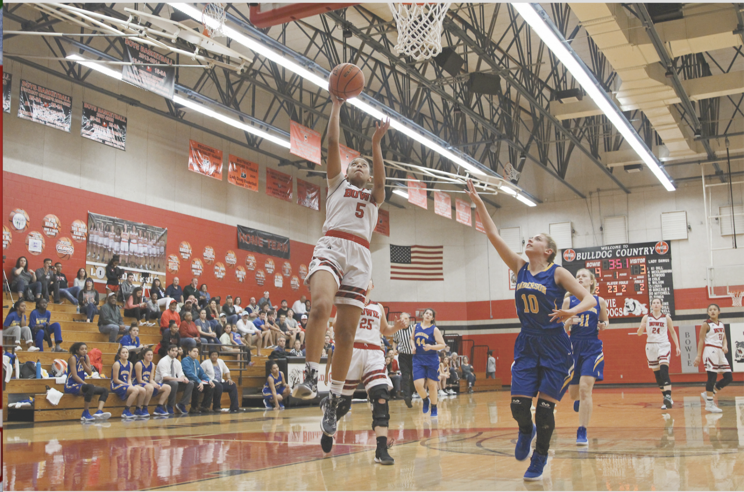 Senior Hailey Atwood leaps up to score a lay-up. Atwood was nominated for McDonald's All-American.