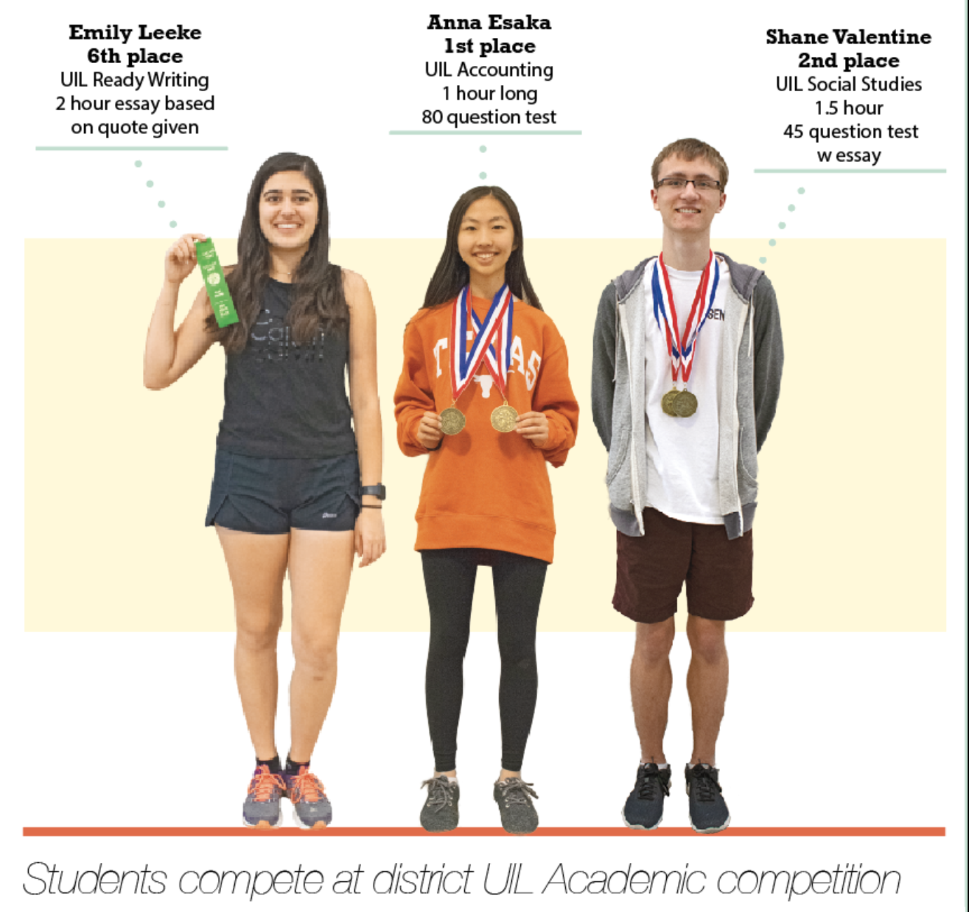 Academic teams are composed of students from all grades and all students are encouraged to try out these competitions. Most events have an individual competition as well as a team competition.