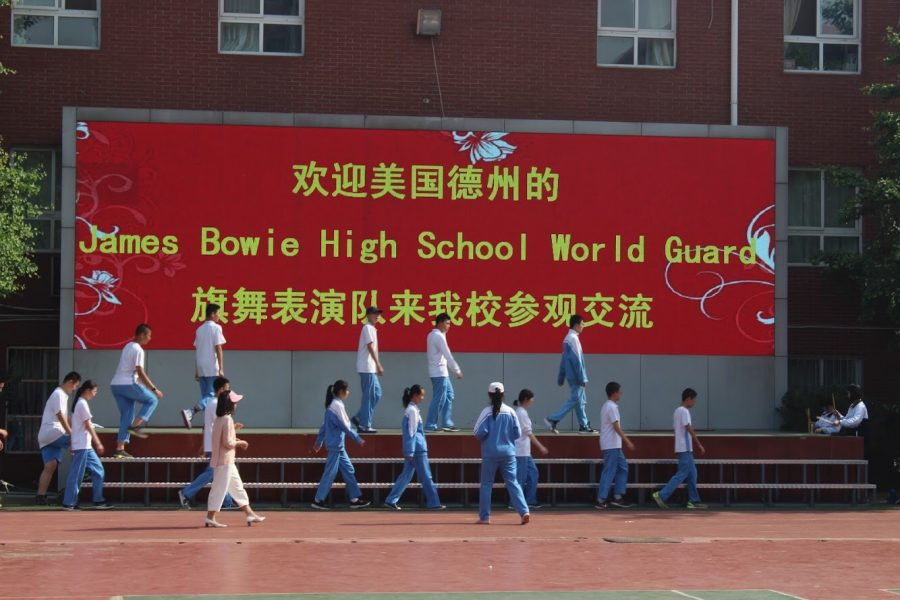 The+Bowie+world+guard+visits+a+school+in+China+that+is+preparing+to+perform+and+show+off+their+world+guard+skills.