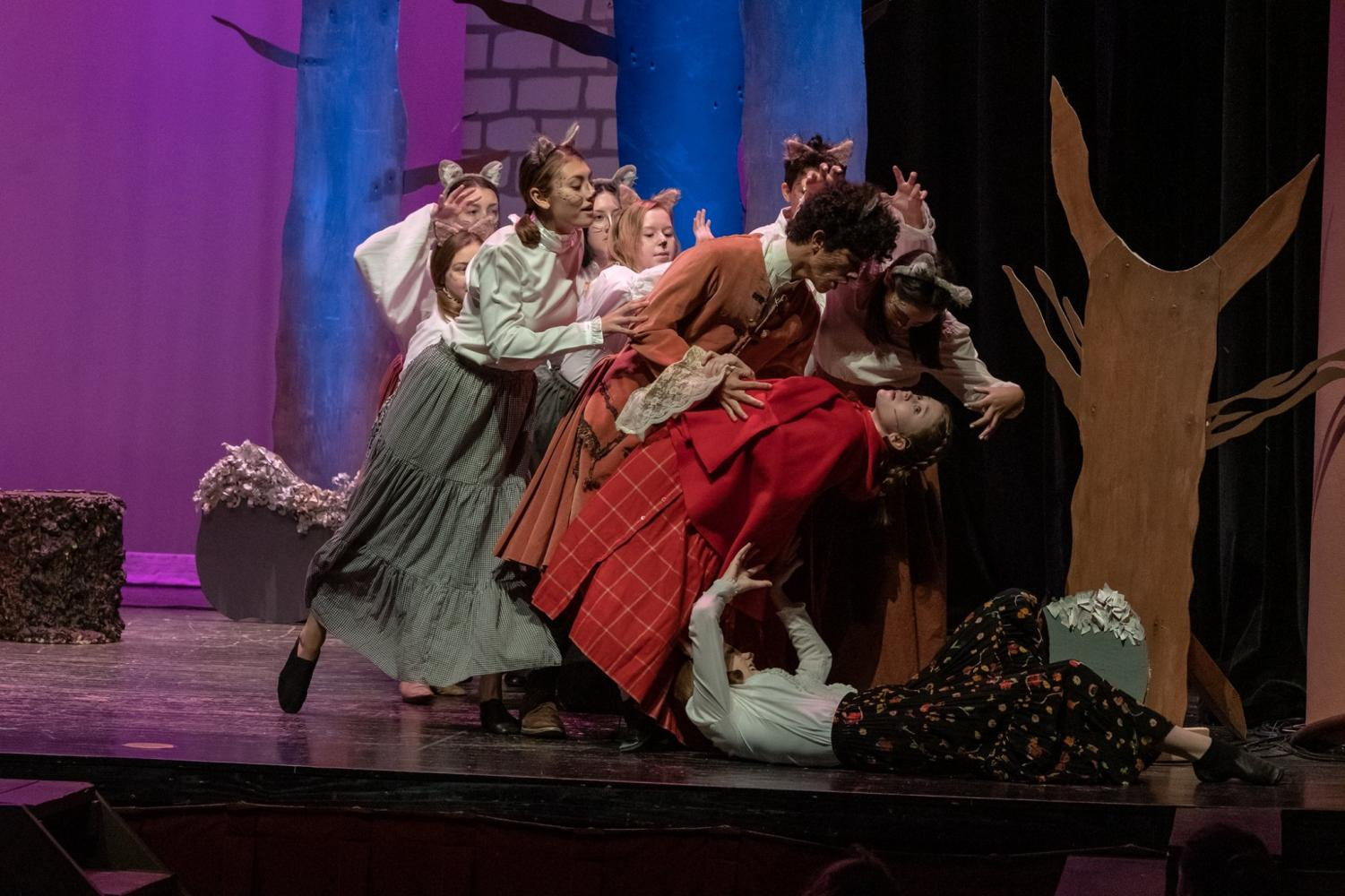 Juniors Jaden Davis and Haley Pousson perform a duet with the Wolf Ensemble in Into The Woods
