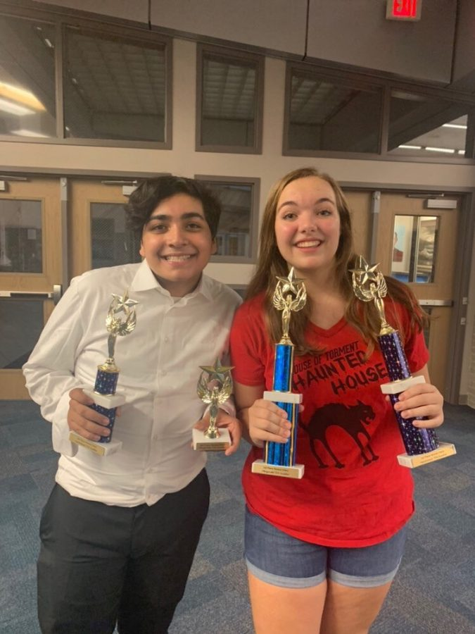 Sophomore+Erin+Everette+%28right%29+and+sophomore+Daniel+Bamdad+%28left%29++both+received+trophies+for+placing+at+the+Pflugerville+TFA+Swing+tournament+this+past+weekend.+