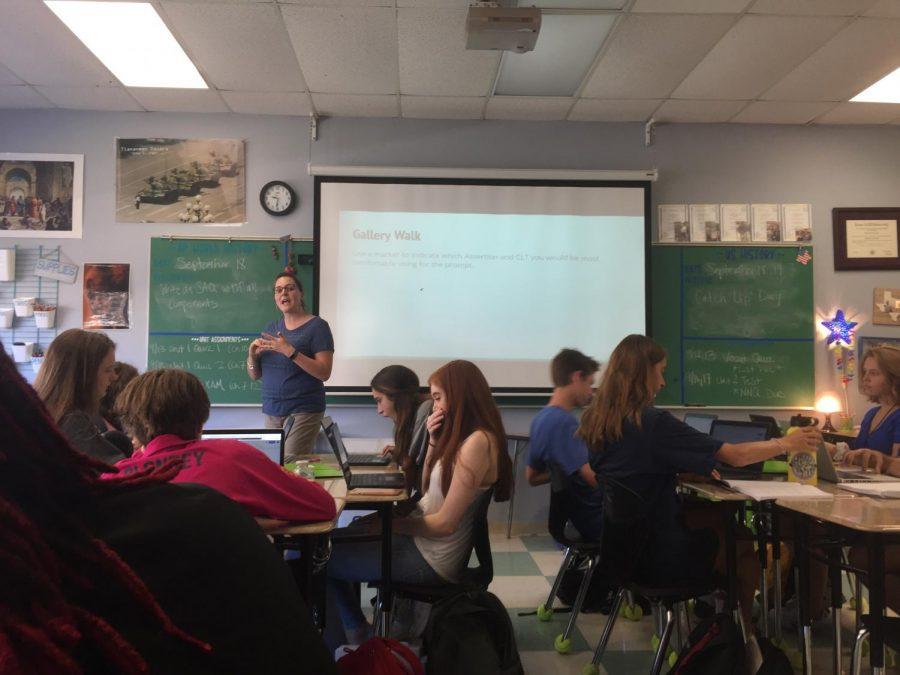 Uzzle teaches her class in a new school year after the Texas Legislature passed a bill that would raise salaries for teacher. Uzzle is pictured teaching her AP world history class.