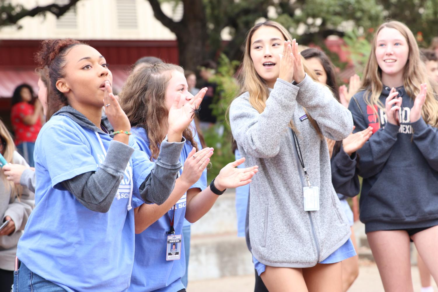 Senior+leadership+students+Lisa+Wilkerson%2C+Payton+Lord%2C+and+Kendall+Oh+dance+in+the+pit+in+hopes+of+bringing+the+student+body+together.+The+Fall+Festival+was+in+the+courtyard+after+the+PSAT+and+was+made+to+promote+a+positive+and+welcoming+environment+on+campus.+