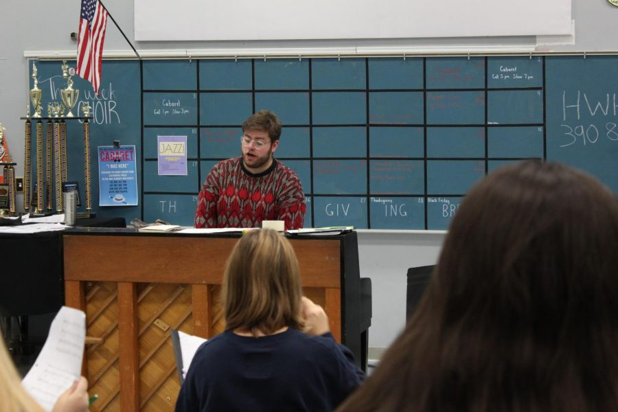 """This year, the Bowie community welcomed a new choir teacher, Aaron Bourgeois. """"I am hoping that we can make this choir significant by making it so that it is unique and making sure that we are doing things that no one else is doing,"""" said Bourgeois."""