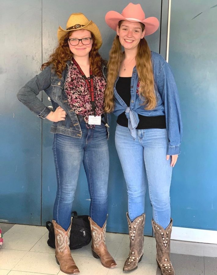 On western day during spirit week,  junior Megan Shaver (left) and senior Hannah Bohannan (right) showed their school spirit.