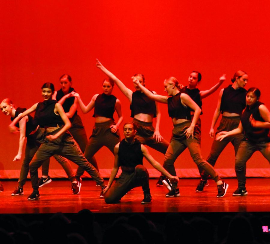 GRACEFUL AND BALANCED: The Silver Stars Hip Hop Company performs their number while striking a pose. The show was free but the dance department asked for donations to help the organization.