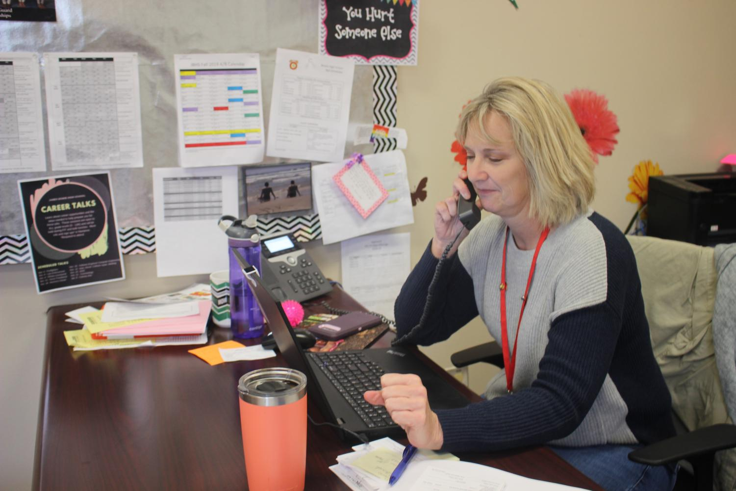 This year is Kim Gilbert's second year working at Bowie. She is one of the many counselors that helps students with the last names McE-P. Gilbert helps out students with any and every problem they have, from grades to personal problems.