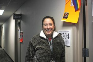 Counselor Kim Libby lends a helping hand
