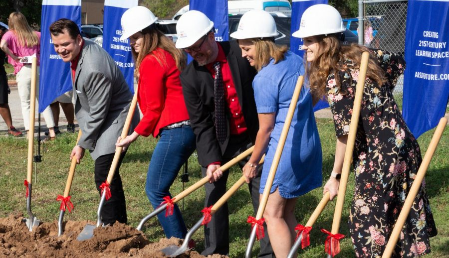 A GROUNDBREAKING EVENT: Superintendent Dr. Paul Cruz (far left) participates in the initiation ceremony of the Bowie Bond Construction project on June 6. As written in his email, Dr. Cruz feels accomplished for the work his team did on the $1.05 billion dollar bond during his term as superintendent.