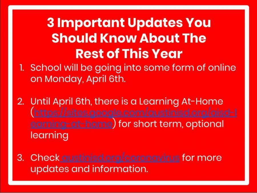 Austin+Independent+School+District+announced+early+on+Wednesday%2C+March+25+that+all+schools+in+the+district+would+be+closed+until+Monday%2C+April+13+and+students+as+well+as+staff+should+be+prepared+for+longer+closures.%C2%A0