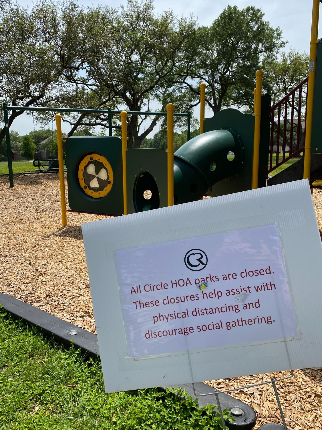 A+local+park+in+the+Austin+Circle+C+neighborhood+has+been+closed+in+response+to+the+citywide+park+closure.+The+closures+are+part+of+a+citywide+effort+to+enforce+physical+distancing+policies.+