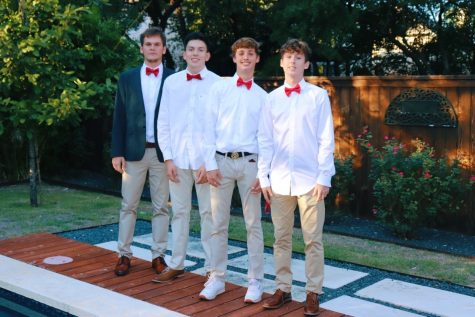 Pictured from left to right are juniors Evan Mallett, Brandon Flores, Jackson Hirsch, and Matthew Garcia. Mallett, Flores, and Garcia were injured in a car accident on Mopac when their car ran into a light pole. Garcia and Flores have been discharged while Mallett will continue his recovery in the hospital.