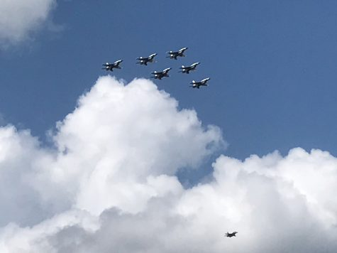 Six U.S. Air Force Thunderbirds fly over hospitals in the Austin community. The flyover is part of the Air Force's national #AmericaStrong campaign where they perform flyovers to honor and recognize the crucial work of the nation's health care workers during the COVID-19 pandemic.