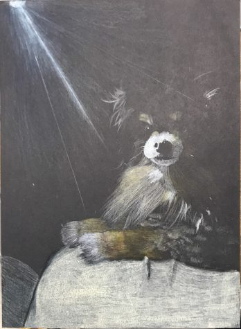 Sophomore Juluissa Elias illustrates her dog in dramatic lighting. Elias explained that the hardest aspect of the creation process was making the dog in the painting resemble her own dog.