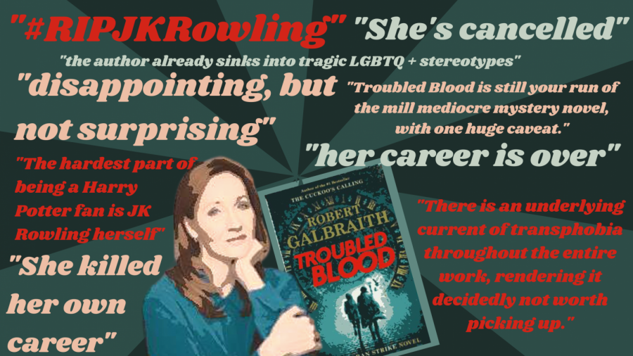 J.K. Rowlings new novel, Troubled Blood causes controversy. J.K. Rowling has been labeled as transphobic from  readers. Additionaly, Rowling has been under fire for a a series of tweets that are controversial to the transgender community.