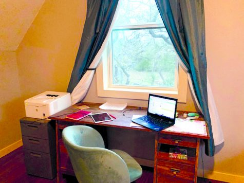WORKING FROM HOME: Geometry teacher Katherine Rodriguez shows how she teaches from home with her work space setup complete with everything she needs for her students. Rodriguez has been using the same material and methods to teach this year, but has had to adjust to working from home.