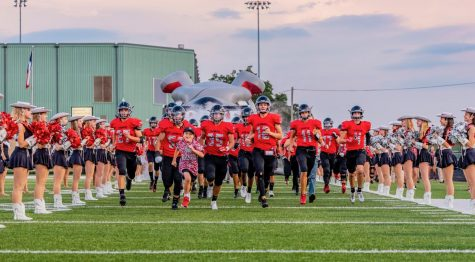 MOST VALUABLE PLAYER: Kyle Walter (middle left) leads the team as they got ready for kickoff in a game from the 2019 season.  Walter was diagnosed with the rare condition ADNP, and he has been a champion child with Bowie football since last year.