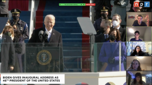"President Joe Biden gives his Inaugural Address at the front of U.S. Capitol. President Biden claimed that ""democracy has prevailed,"" in his speech."