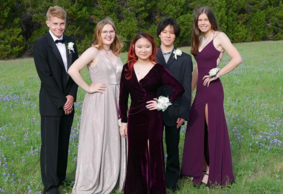 Leo Gerd-Witte, Sophia Rockitt, Toey Trakanwiradet, Hinata Kanno, Luise Hackmann (named lef to right) attended the prom tradition last week. A new experience for Hackmann as she is a foreign exchange student from Germany.