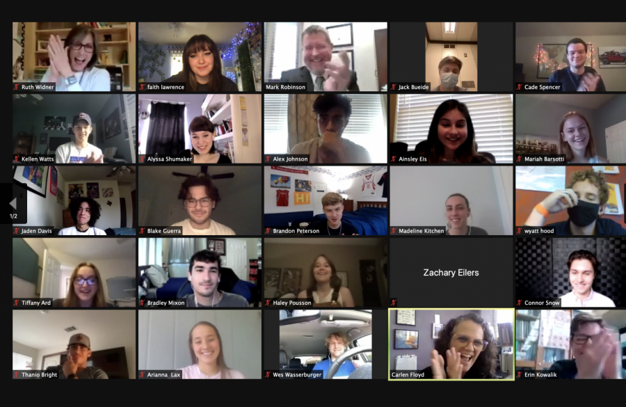 Principal Mark Robinson and Who's Who Committee Chair Carlen Floyd announce the 2021 recipients of the Who's Who Award. The announcement was made over a Zoom meeting disguised as a meeting about the upcoming graduation ceremony to the award recipients in order to surprise them with the award.
