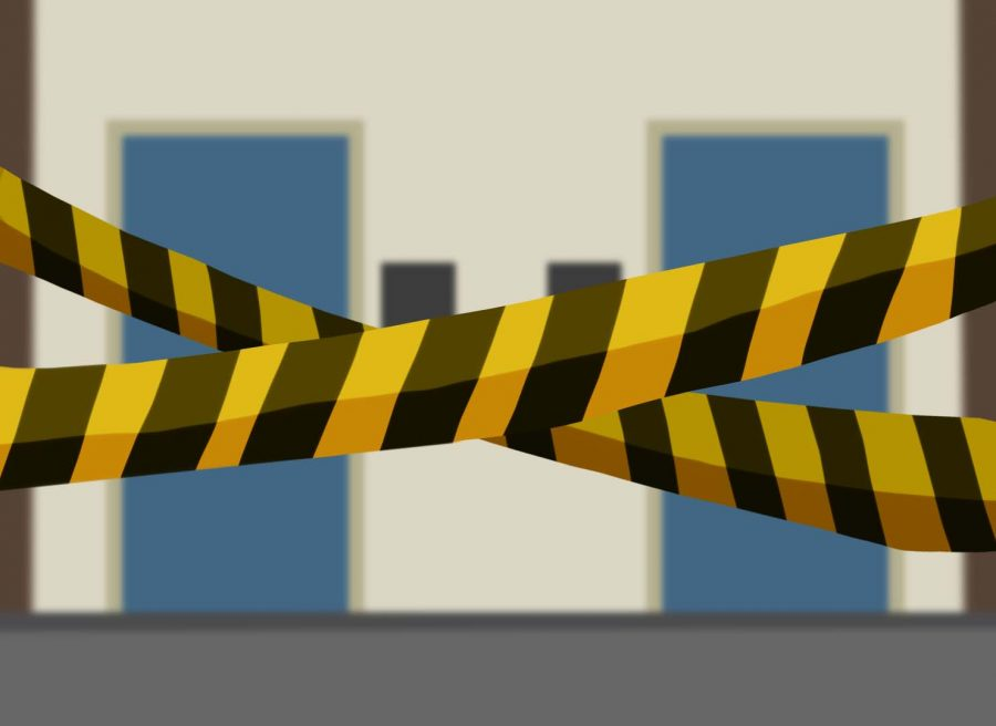 As a result of the various acts of vandalism, a few bathrooms were blocked off with caution tape while the areas were fixed.